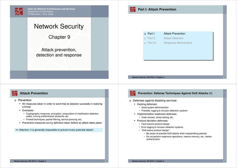 Mechanisms Network Security, WS 2010/11, Chapter 9 2 Attack Prevention Prevention: Defense Techniques Against DoS Attacks (1) Prevention: All measures taken in order to avert that an attacker