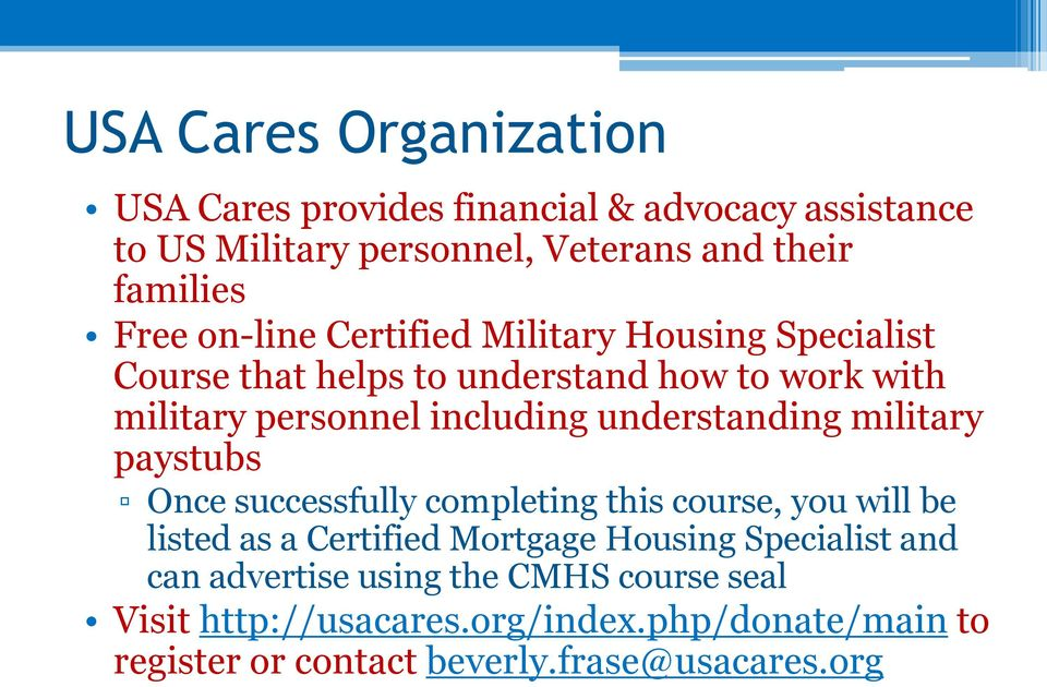 understanding military paystubs Once successfully completing this course, you will be listed as a Certified Mortgage Housing