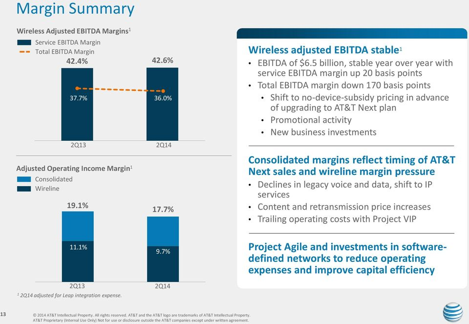 5 billion, stable year over year with service EBITDA margin up 20 basis points Total EBITDA margin down 170 basis points Shift to no-device-subsidy pricing in advance of upgrading to AT&T Next plan