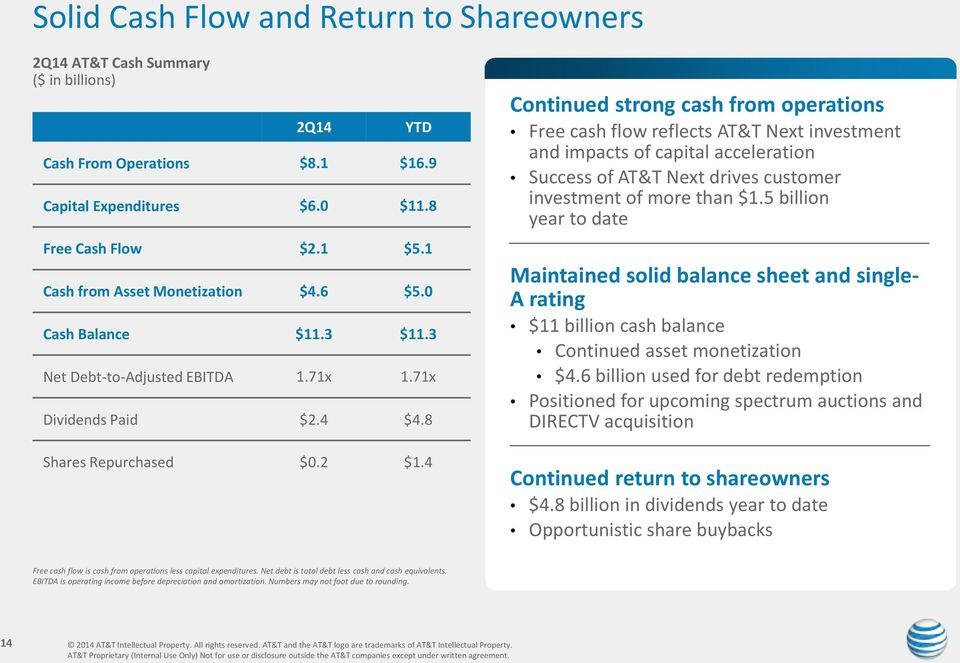 4 Continued strong cash from operations Free cash flow reflects AT&T Next investment and impacts of capital acceleration Success of AT&T Next drives customer investment of more than $1.
