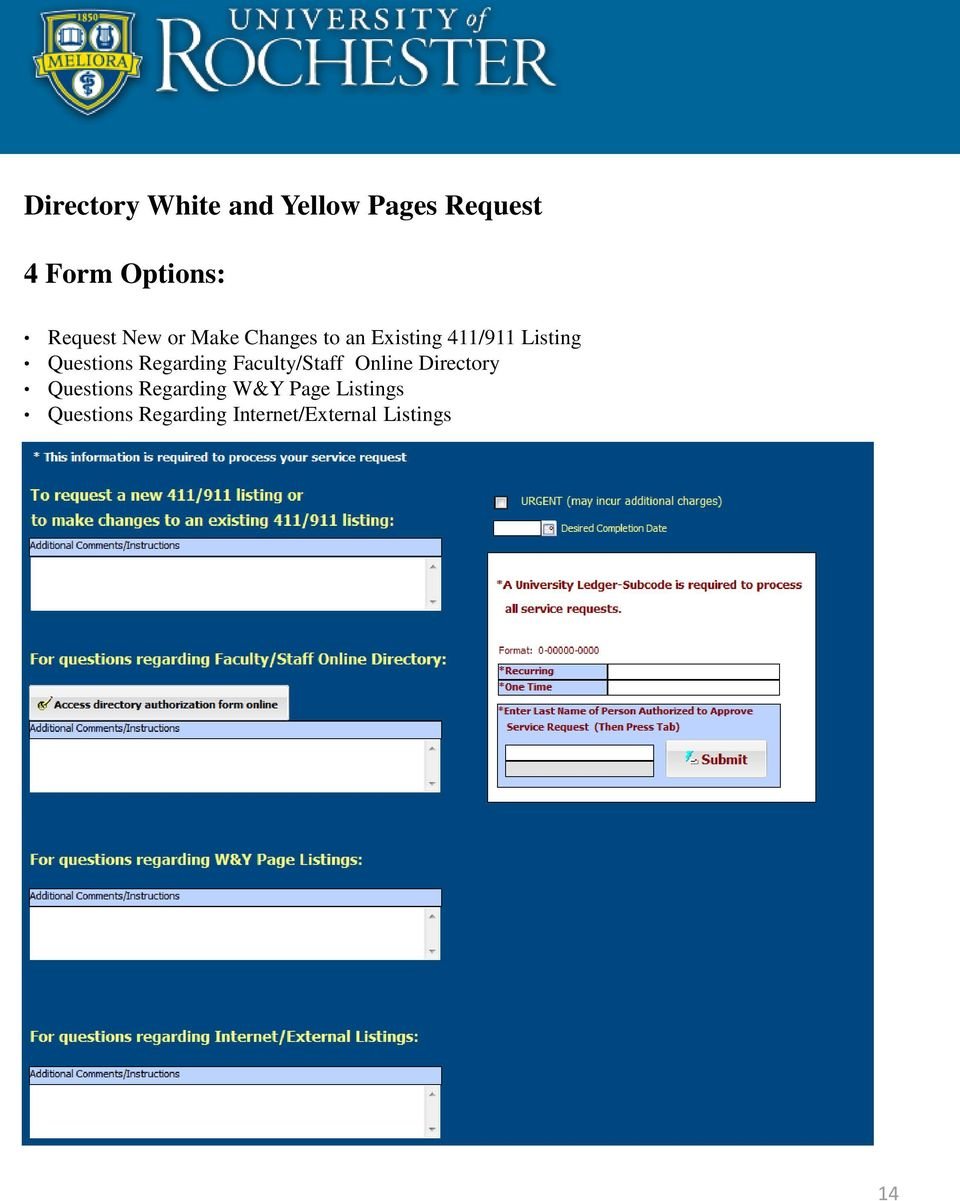 Questions Regarding Faculty/Staff Online Directory Questions