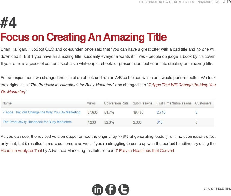 If your offer is a piece of content, such as a whitepaper, ebook, or presentation, put effort to creatg an amazg title.