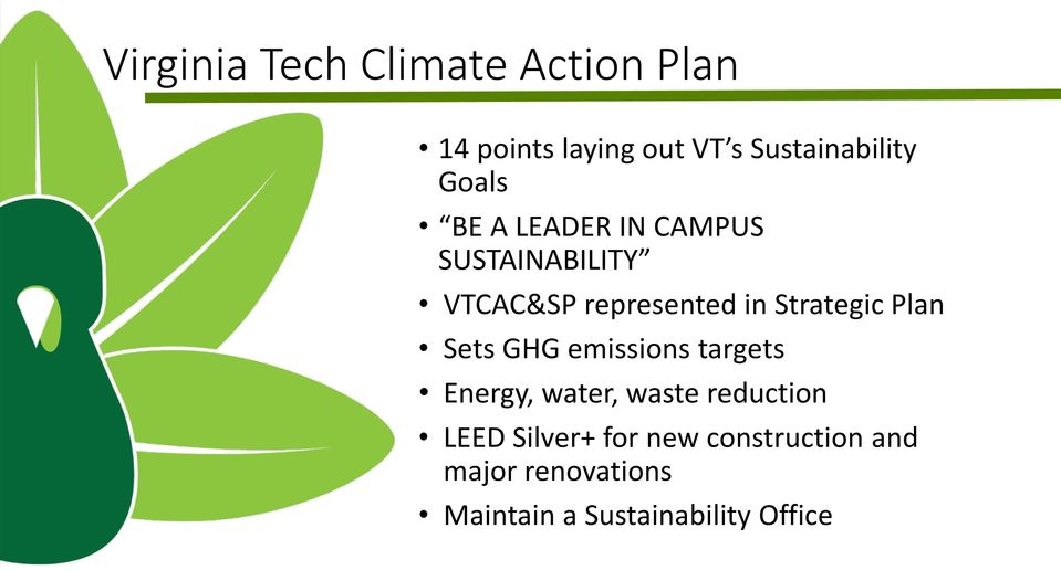 Strategic Plan Sets GHG emissions targets Energy, water, waste reduction