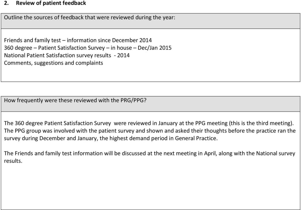 The 360 degree Patient Satisfaction Survey were reviewed in January at the PPG meeting (this is the third meeting).
