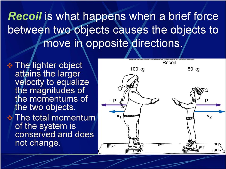 """ The lighter object attains the larger velocity to equalize the"