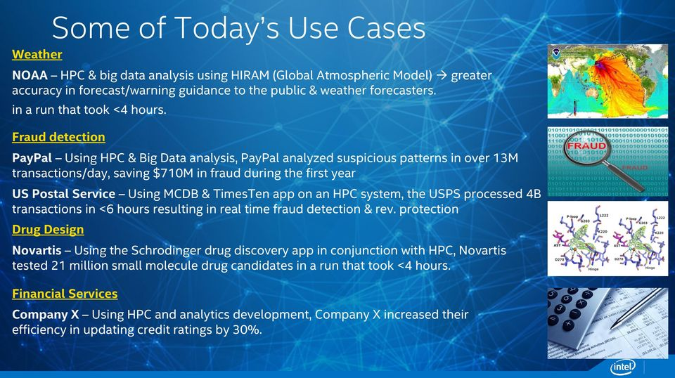 Fraud detection PayPal Using HPC & Big Data analysis, PayPal analyzed suspicious patterns in over 13M transactions/day, saving $710M in fraud during the first year US Postal Service Using MCDB &