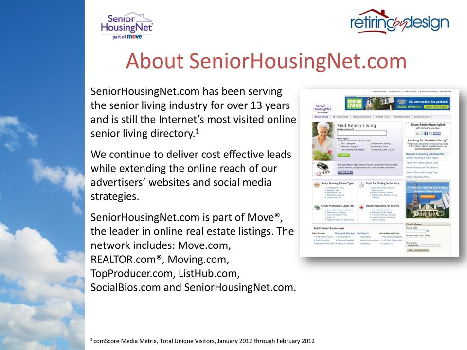 1 We continue to deliver cost effective leads while extending the online reach of our advertisers websites and social media strategies. SeniorHousingNet.