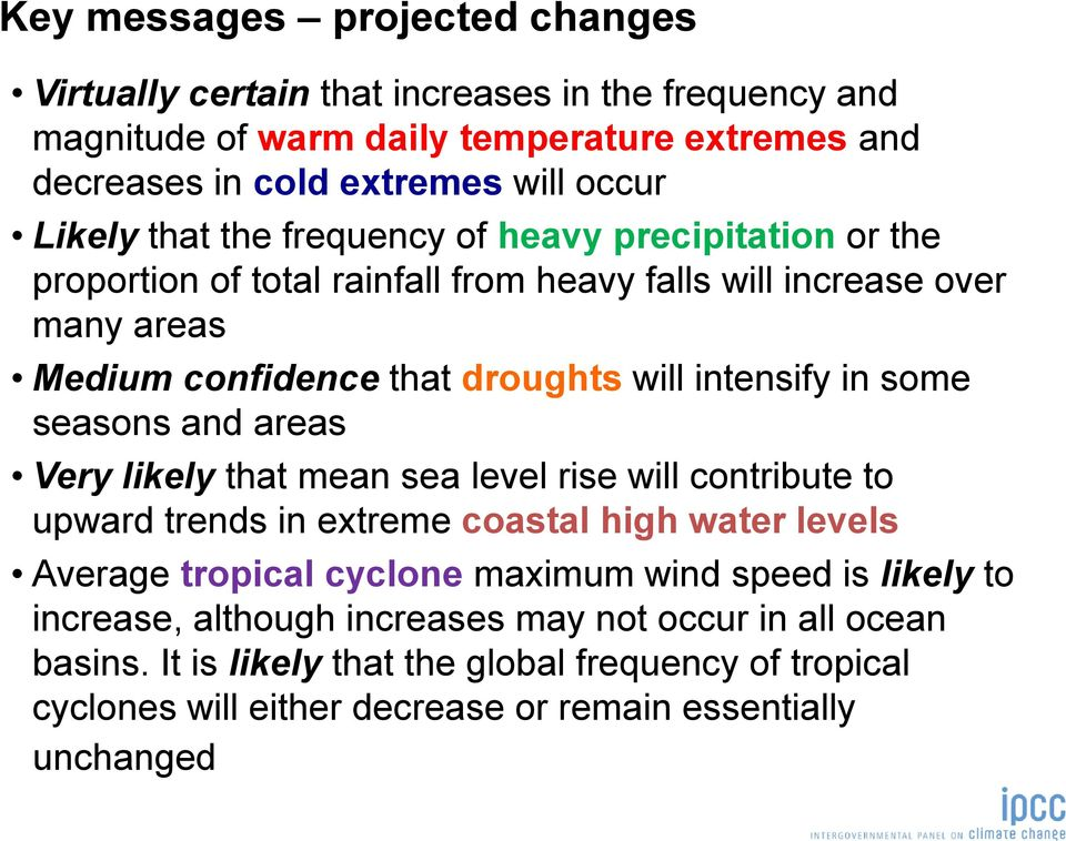seasons and areas Very likely that mean sea level rise will contribute to upward trends in extreme coastal high water levels Average tropical cyclone maximum wind speed is likely