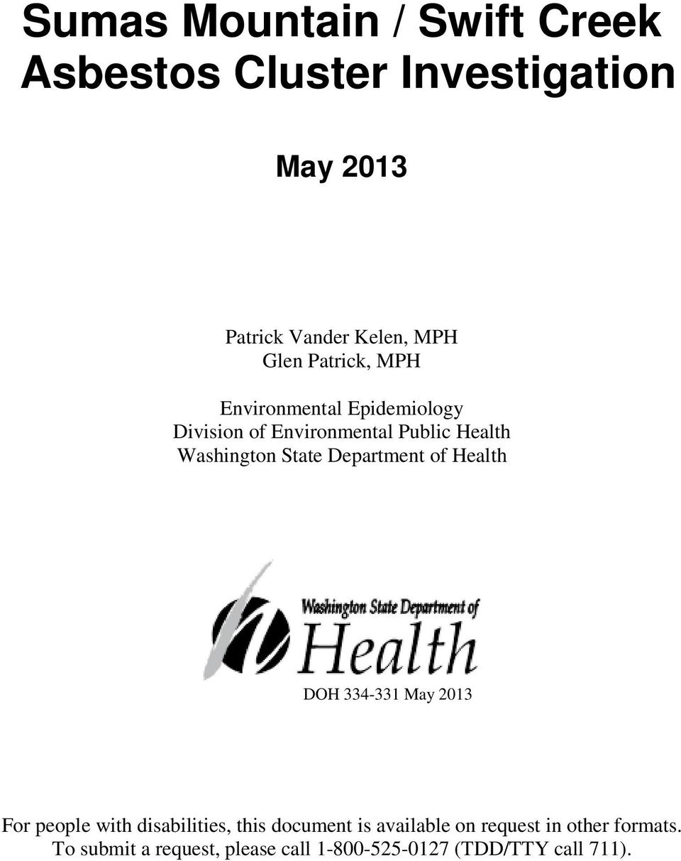 State Department of Health DOH 334-331 May 2013 For people with disabilities, this document is