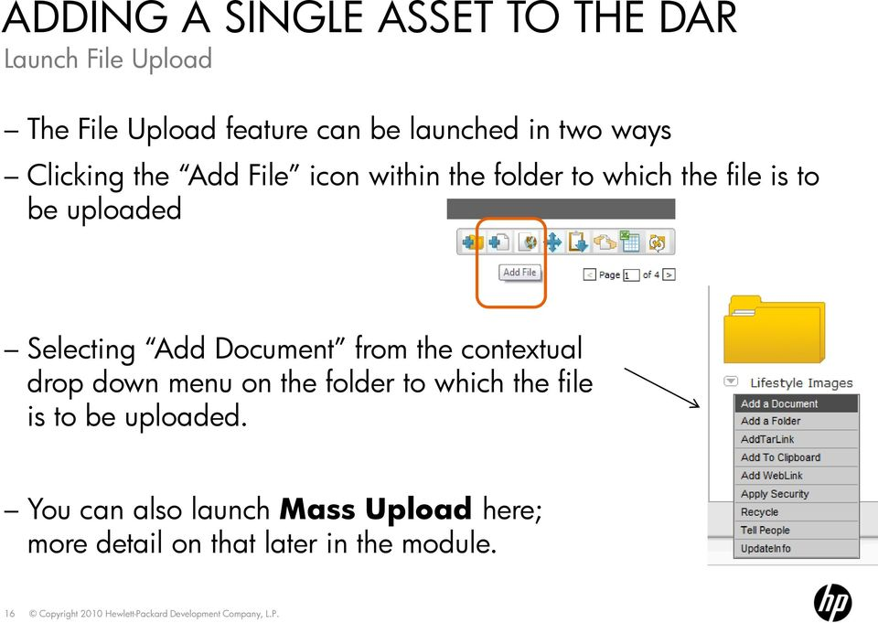 Selecting Add Document from the contextual drop down menu on the folder to which the file is