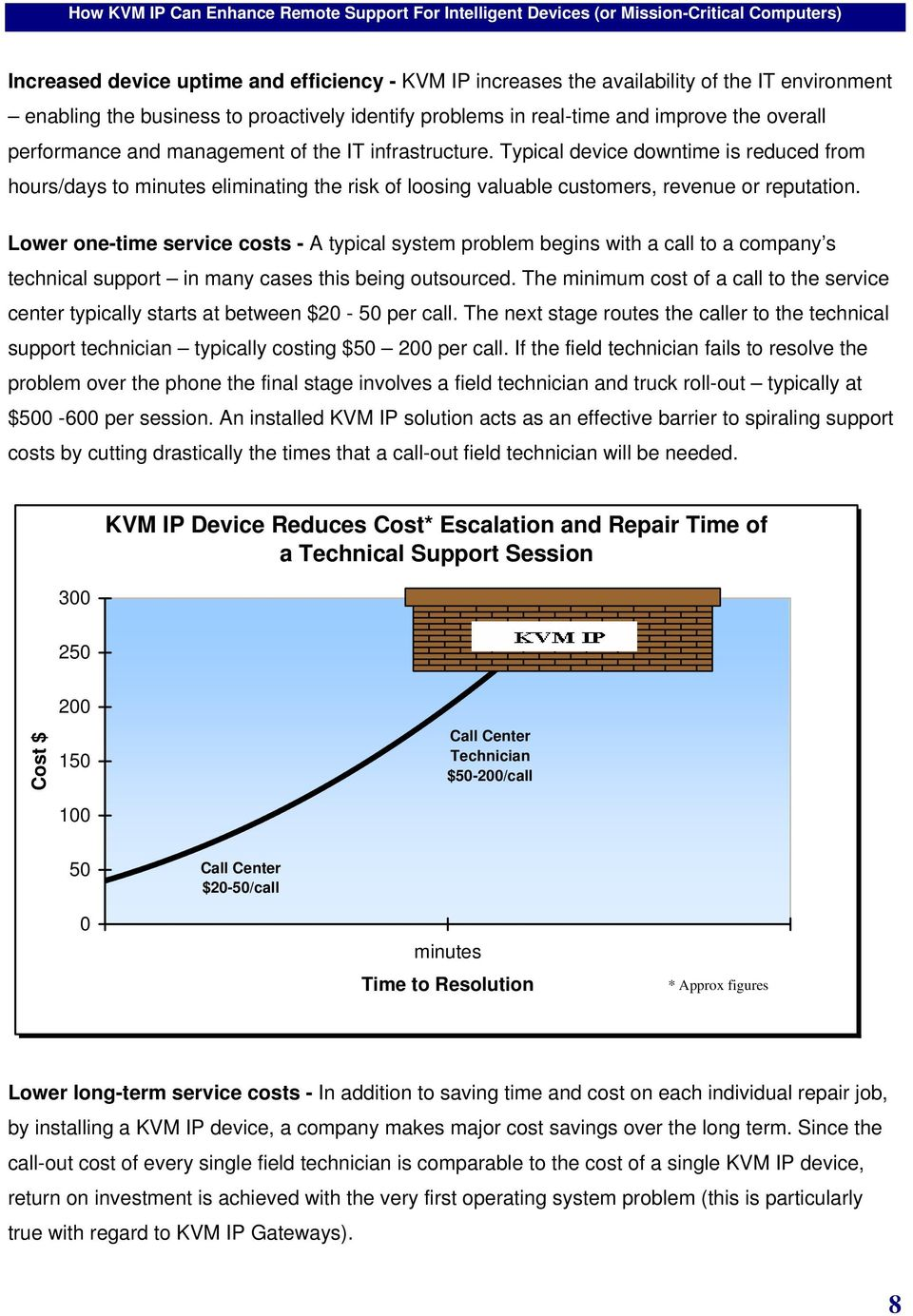 Lower one-time service costs - A typical system problem begins with a call to a company s technical support in many cases this being outsourced.