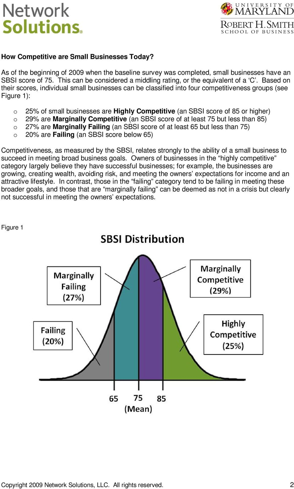 Based n their scres, individual small businesses can be classified int fur cmpetitiveness grups (see Figure 1): 25% f small businesses are Highly Cmpetitive (an SBSI scre f 85 r higher) 29% are