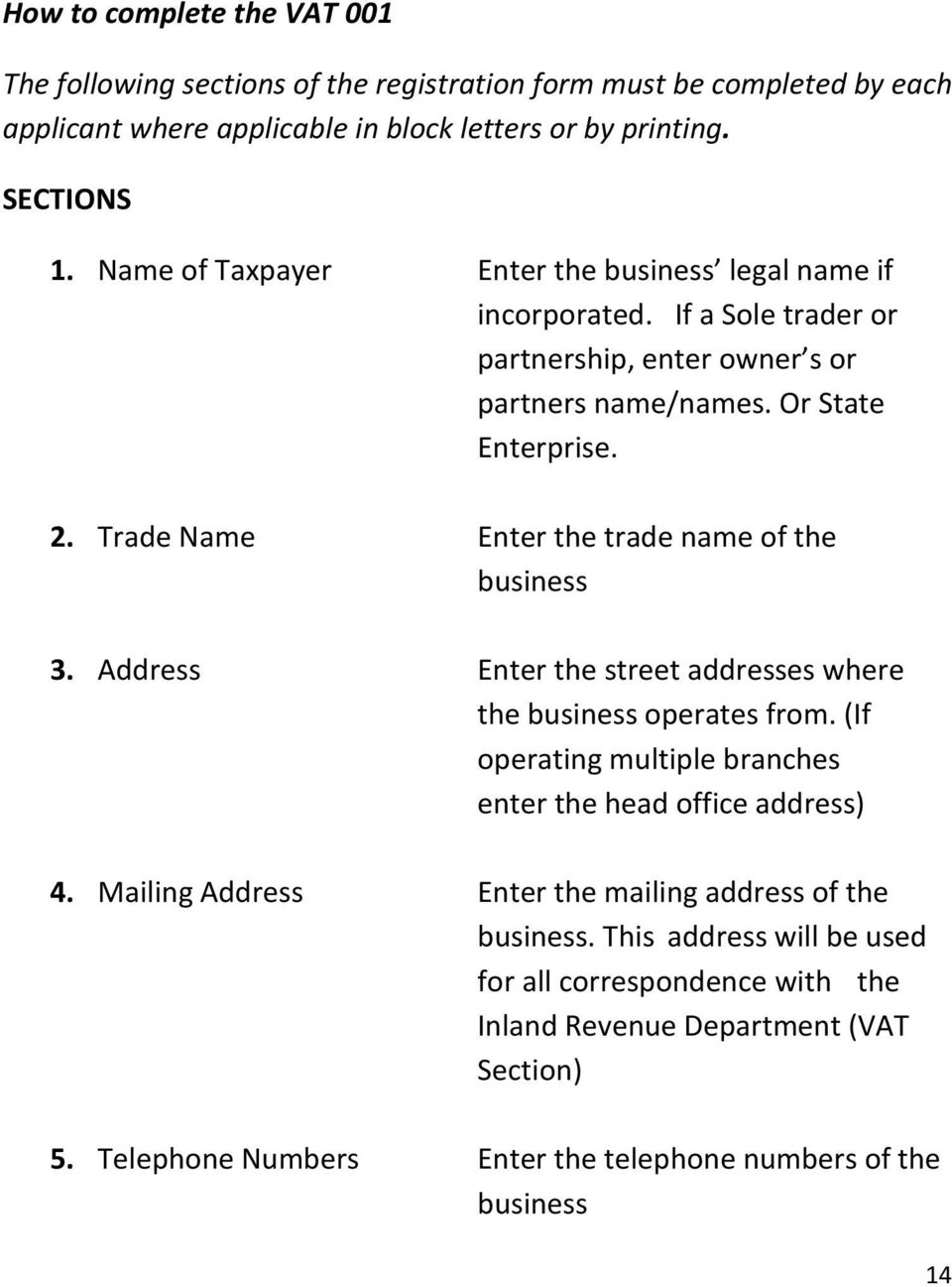 Trade Name Enter the trade name of the business 3. Address Enter the street addresses where the business operates from.