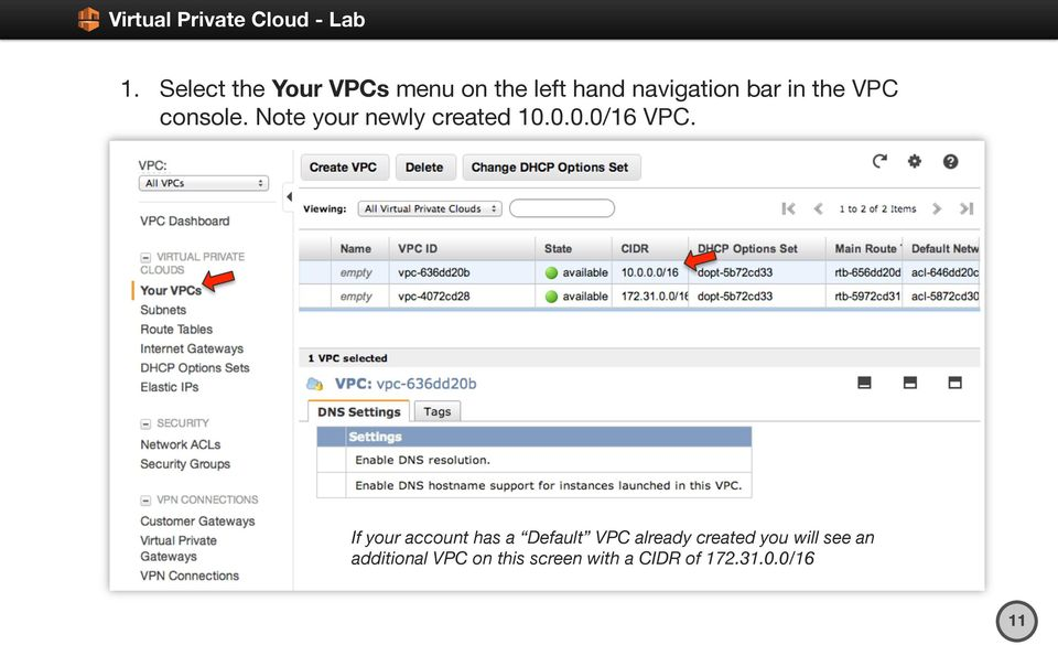 If your account has a Default VPC already created you will see
