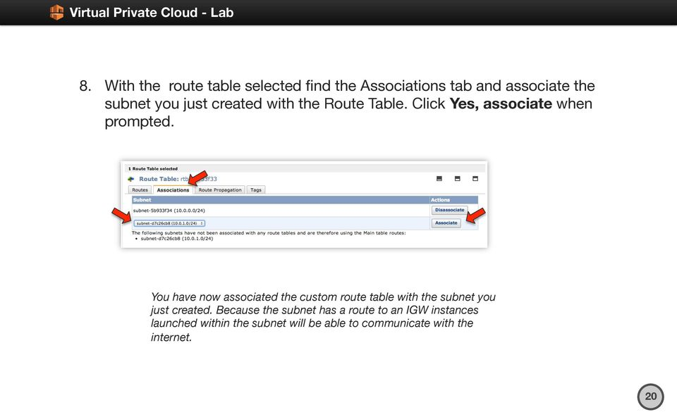 You have now associated the custom route table with the subnet you just created.