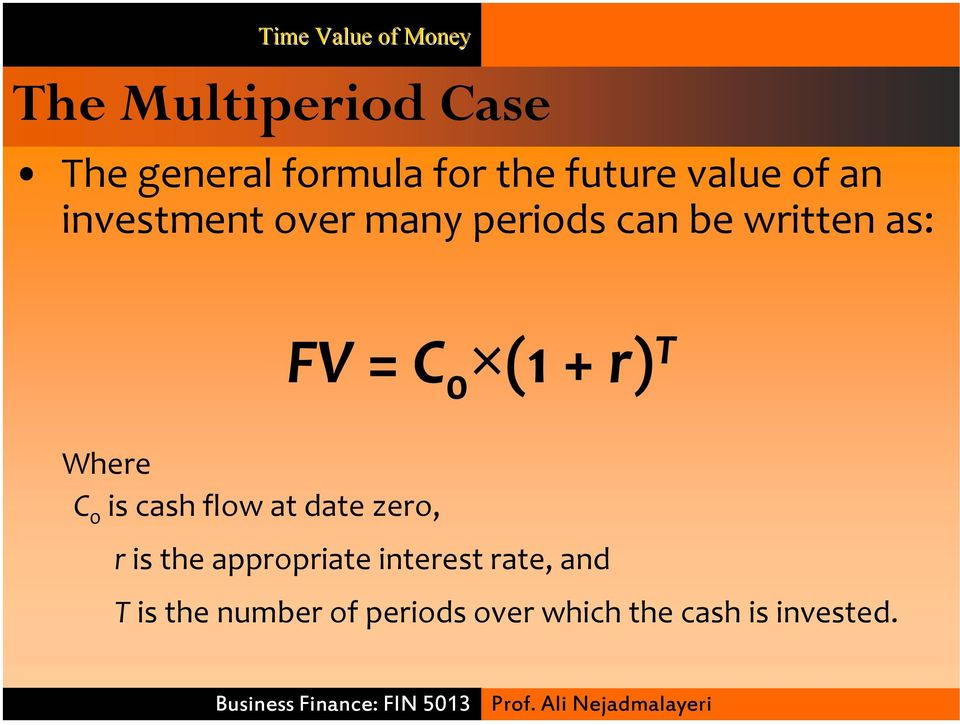+ r) T Where C 0 is cash flow at date zero, r is the appropriate