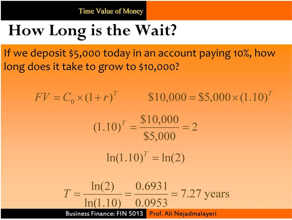 does it take to grow to $10,000? FV C (1 r) 0 + T T $10,000 ( 1.