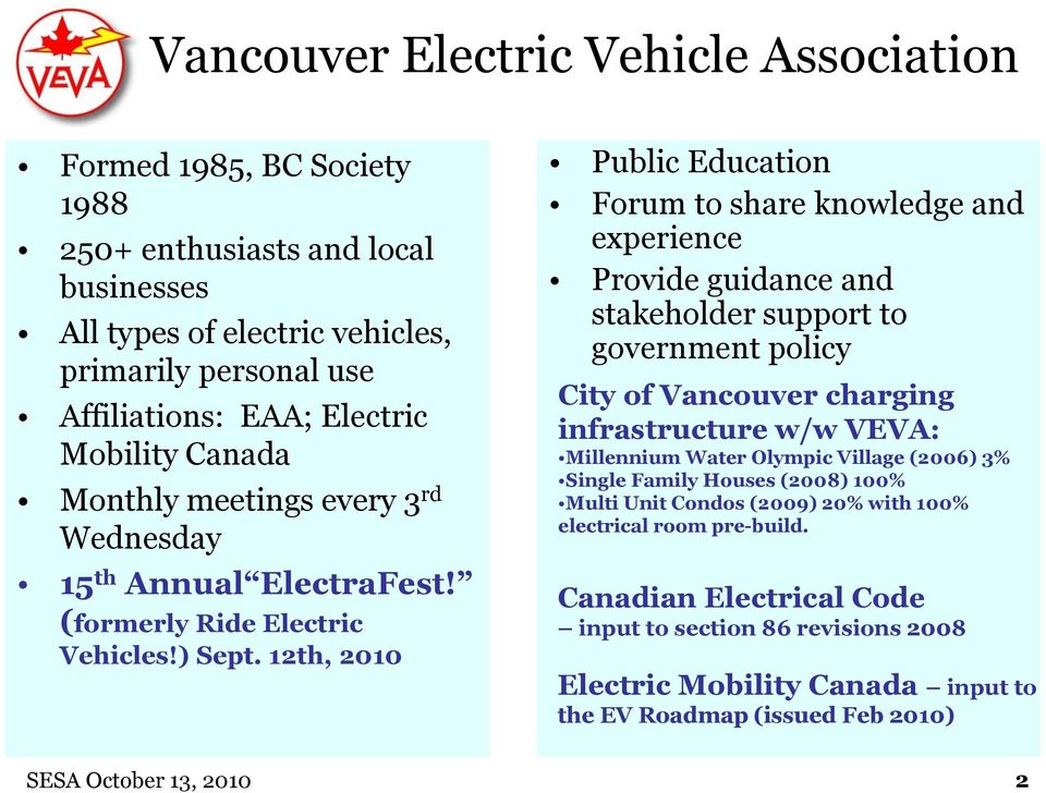 12th, 2010 Public Education Forum to share knowledge and experience Provide guidance and stakeholder support to government policy City of Vancouver charging infrastructure w/w VEVA: Millennium