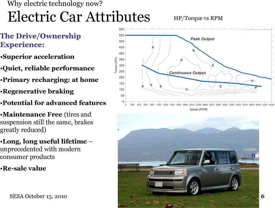 reliable performance Primary recharging: at home Regenerative braking Potential for advanced features