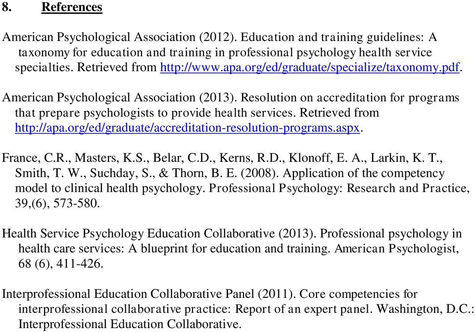 Resolution on accreditation for programs that prepare psychologists to provide health services. Retrieved from http://apa.org/ed/graduate/accreditation-resolution-programs.aspx. France, C.R., Masters, K.