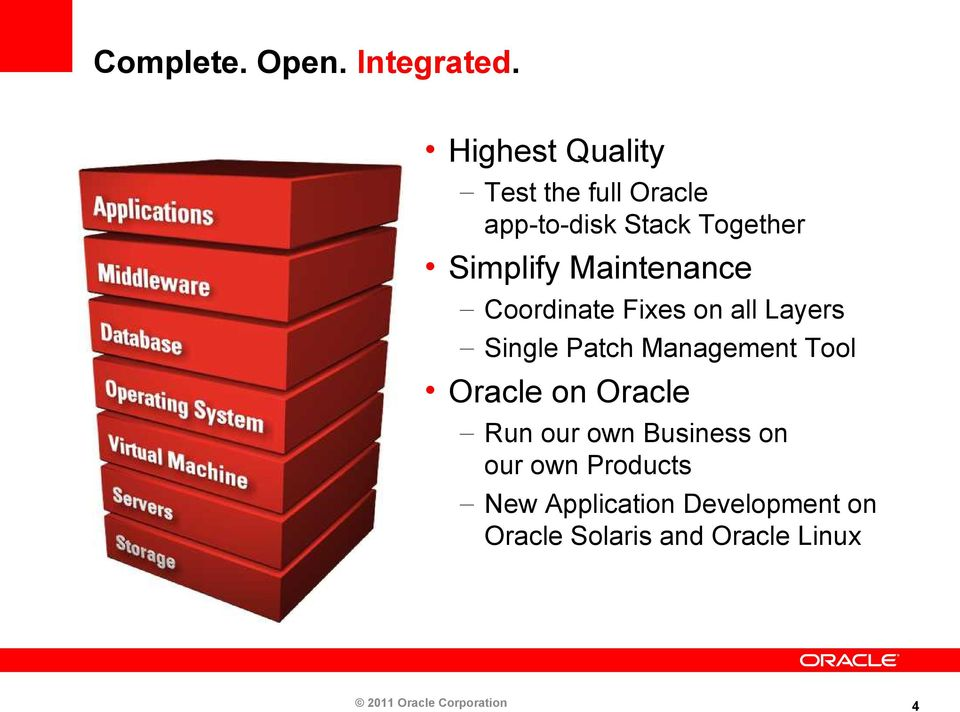 Maintenance Coordinate Fixes on all Layers Single Patch Management Tool Oracle