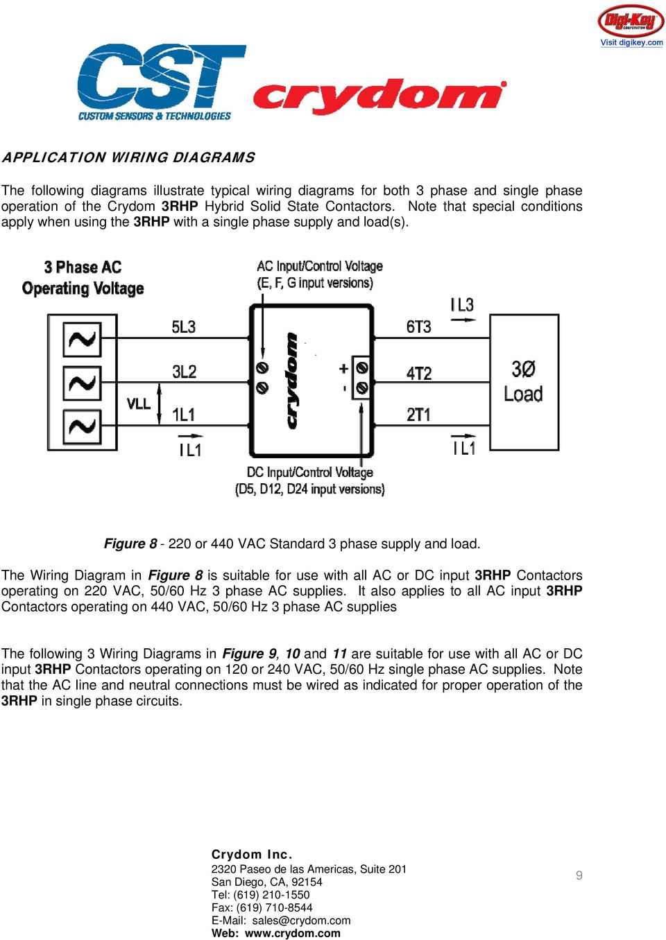 The Wiring Diagram in Figure 8 is suitable for use with all AC or DC input 3RHP Contactors operating on 220 VAC, 50/60 Hz 3 phase AC supplies.