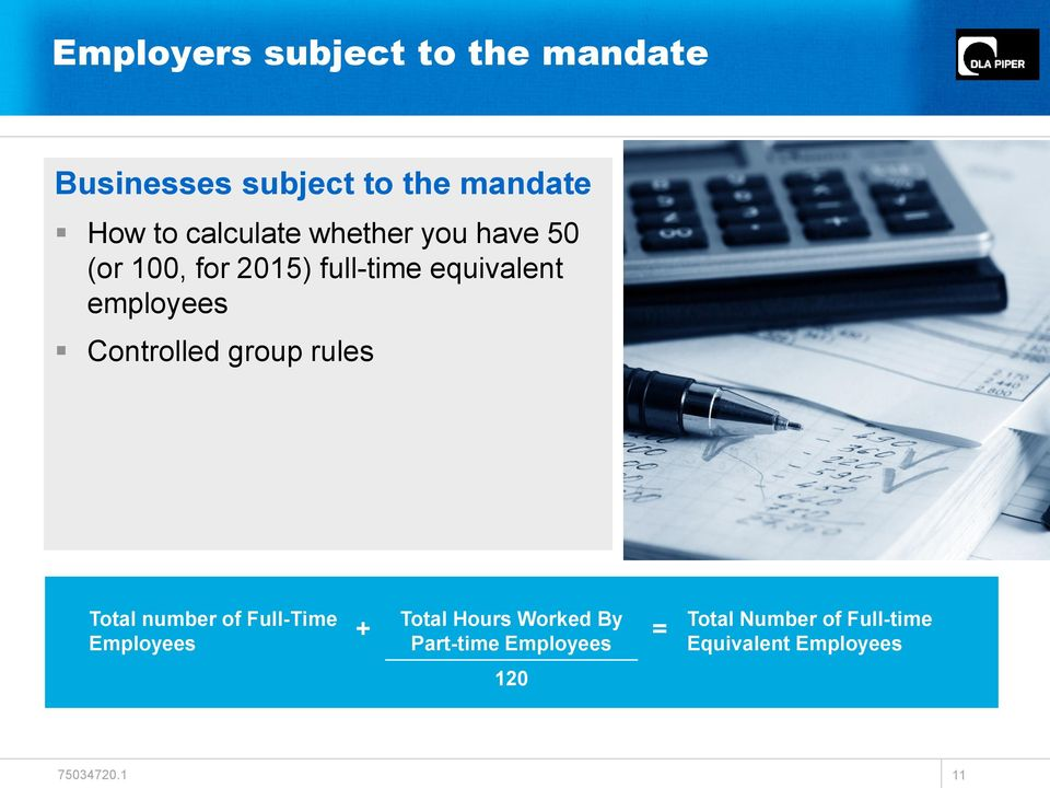 employees Controlled group rules Total number of Full-Time Employees + Total
