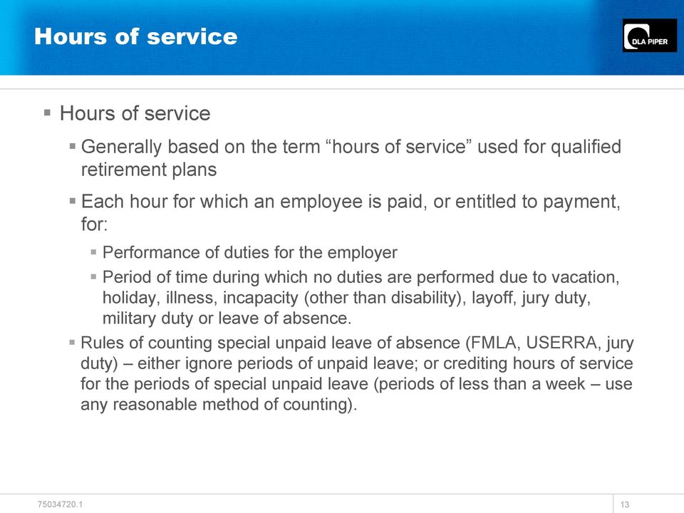 (other than disability), layoff, jury duty, military duty or leave of absence.
