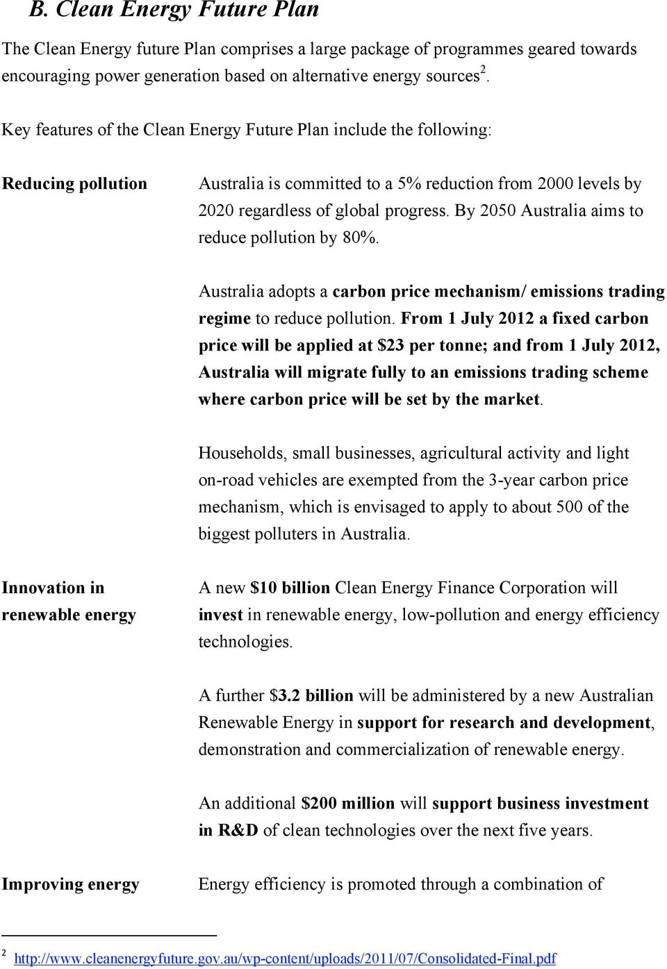 By 2050 Australia aims to reduce pollution by 80%. Australia adopts a carbon price mechanism/ emissions trading regime to reduce pollution.