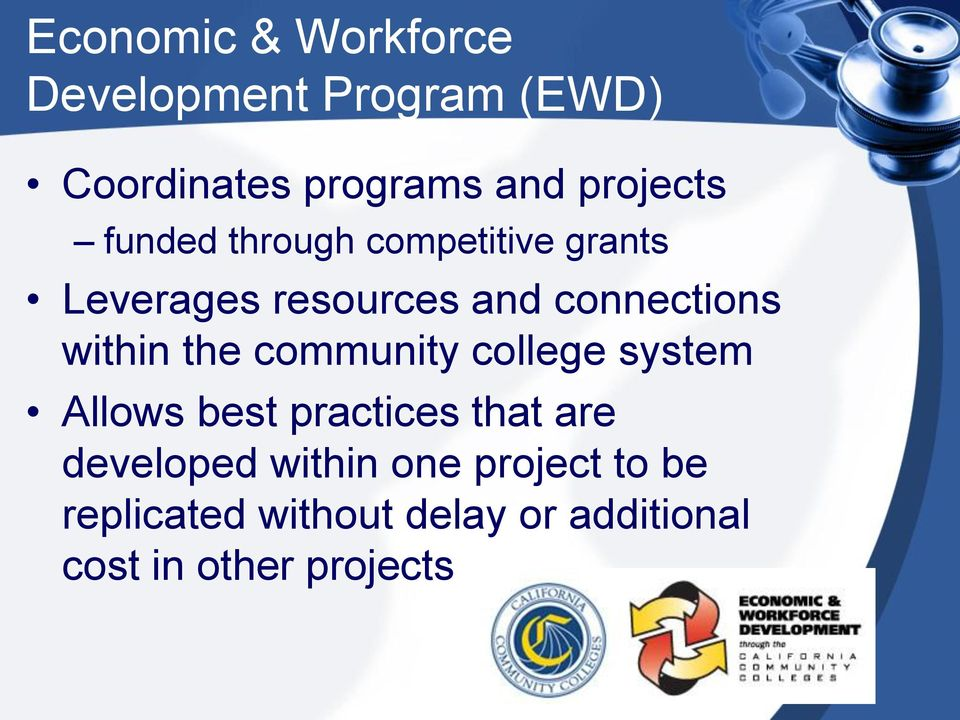 within the community college system Allows best practices that are developed