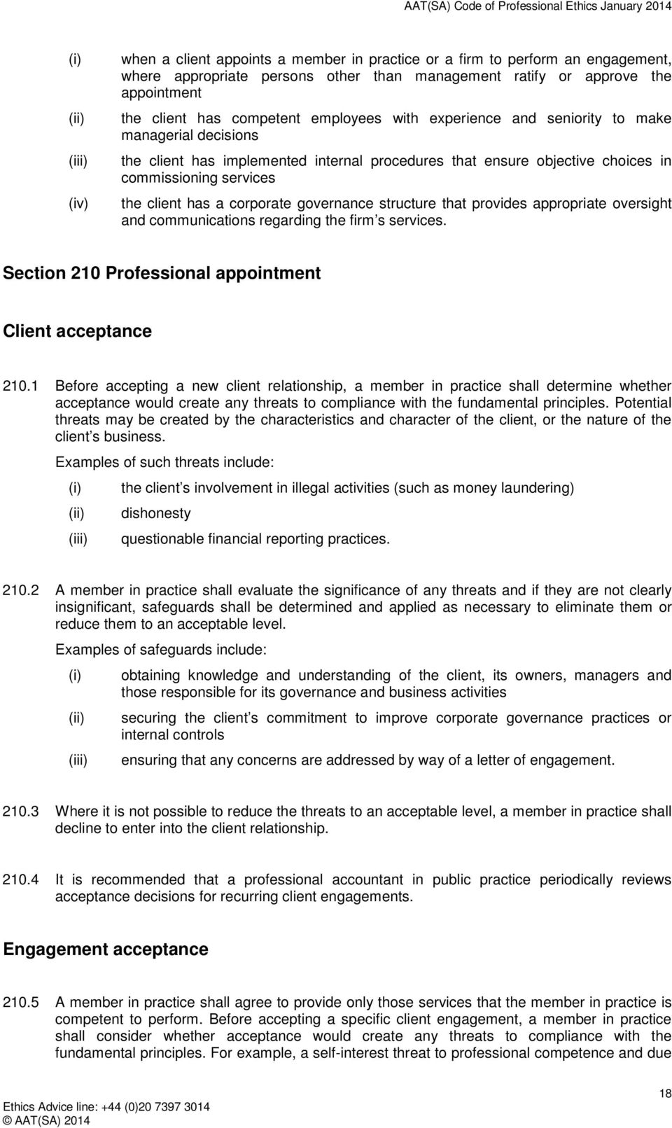 governance structure that provides appropriate oversight and communications regarding the firm s services. Section 210 Professional appointment Client acceptance 210.
