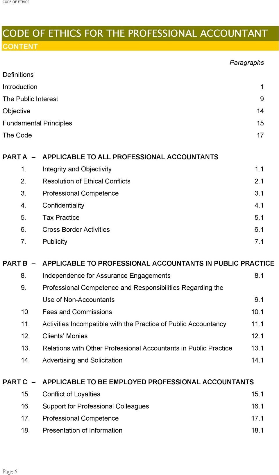 1 7. Publicity 7.1 PART B APPLICABLE TO PROFESSIONAL ACCOUNTANTS IN PUBLIC PRACTICE 8. Independence for Assurance Engagements 8.1 9.