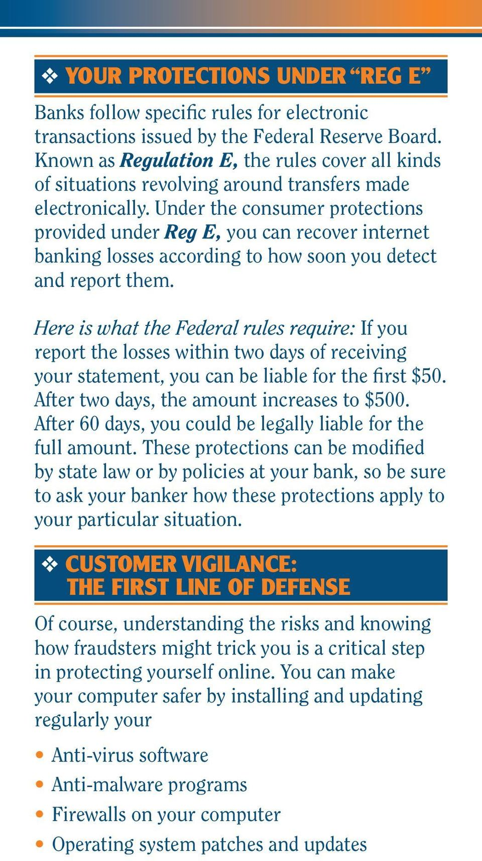 Under the consumer protections provided under Reg E, you can recover internet banking losses according to how soon you detect and report them.