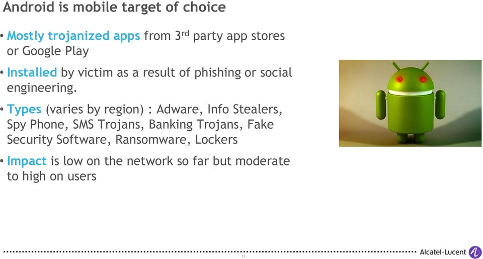 Types (varies by region) : Adware, Info Stealers, Spy Phone, SMS Trojans, Banking Trojans,