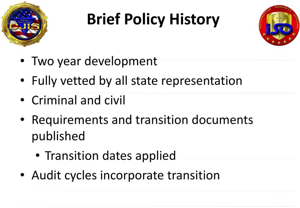 civil Requirements and transition documents