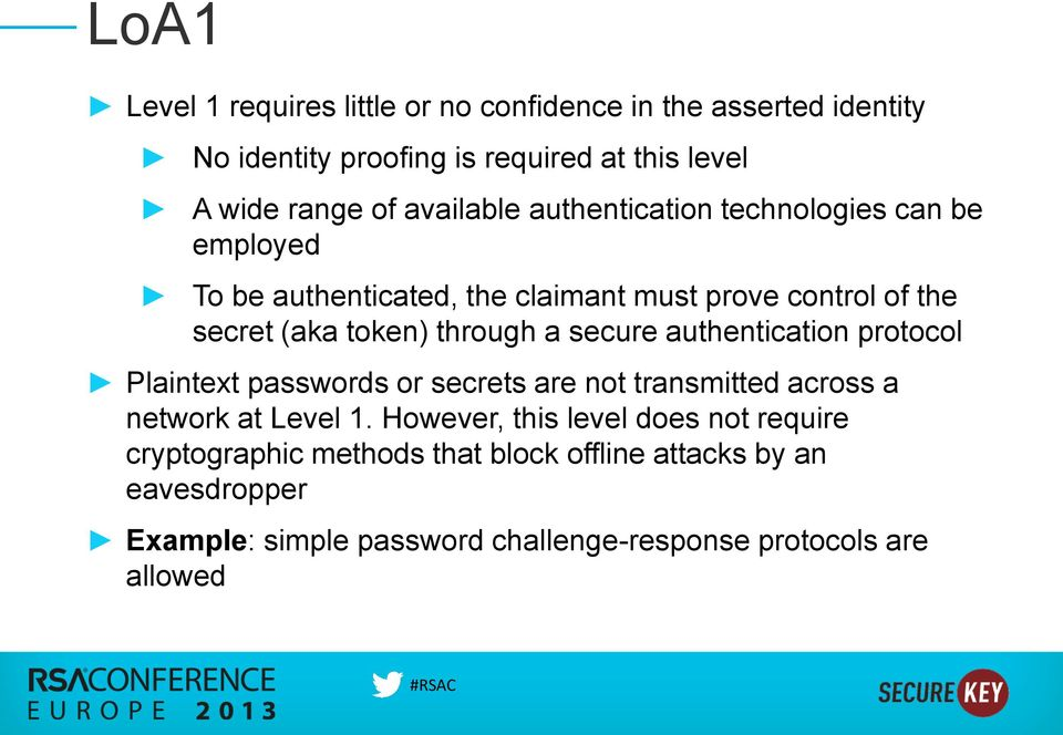 through a secure authentication protocol Plaintext passwords or secrets are not transmitted across a network at Level 1.