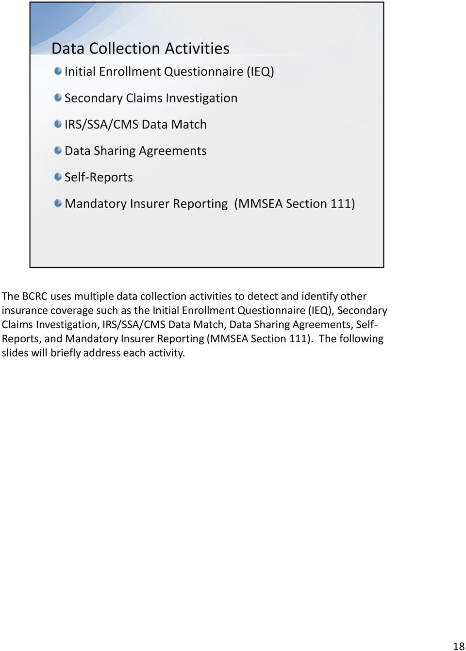 Investigation, IRS/SSA/CMS Data Match, Data Sharing Agreements, Self- Reports, and
