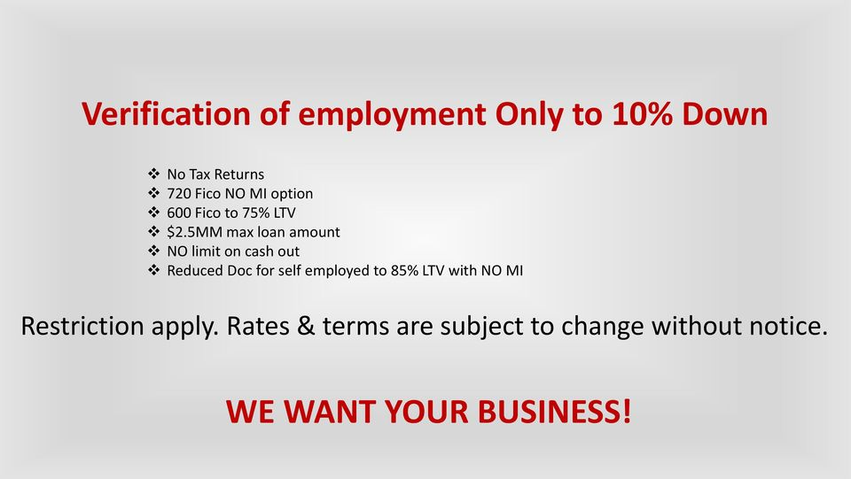 5MM max loan amount NO limit on cash out Reduced Doc for self employed