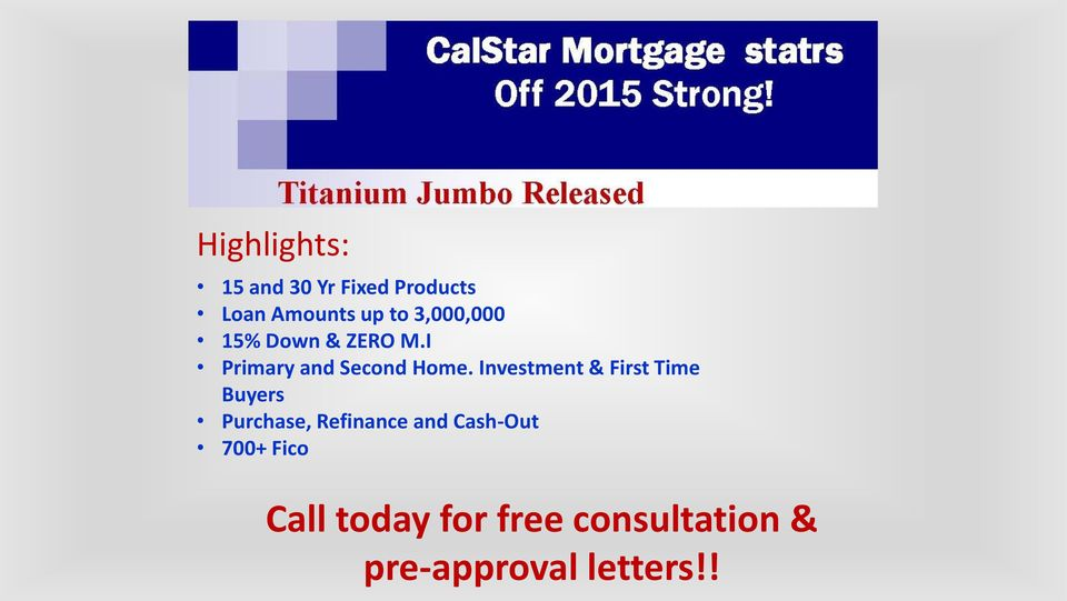 Investment & First Time Buyers Purchase, Refinance and