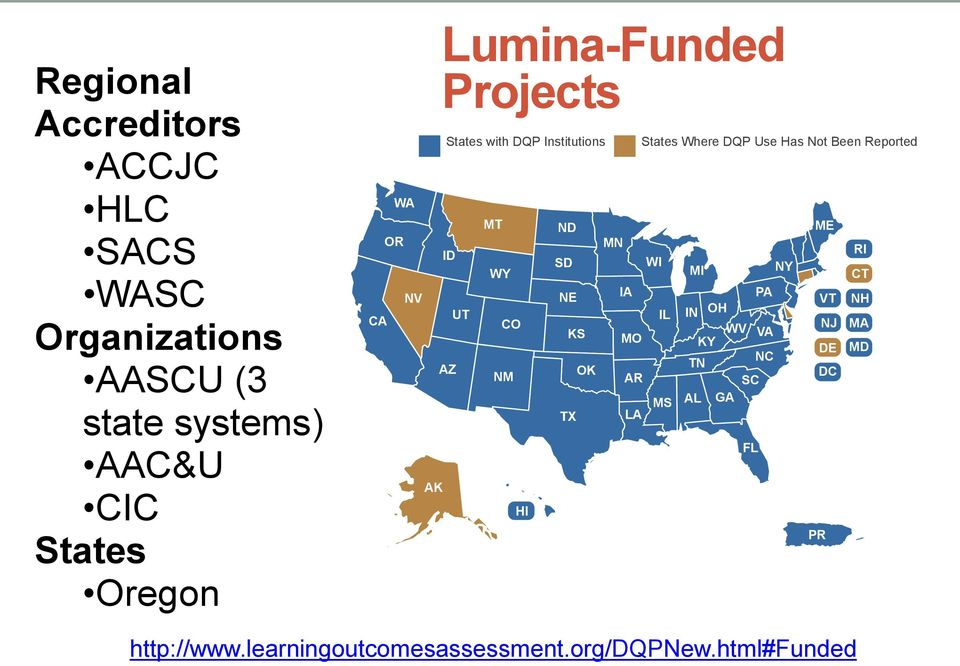 NILOA is working with Lumina Foundation for Education to better Lumina-Funded Projects understand the utility of the DQP as a framework for assessing and advancing student learning.