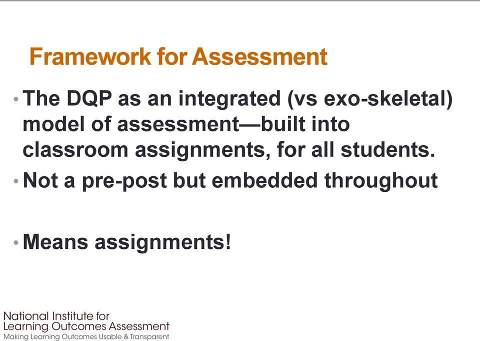 classroom assignments, for all students.