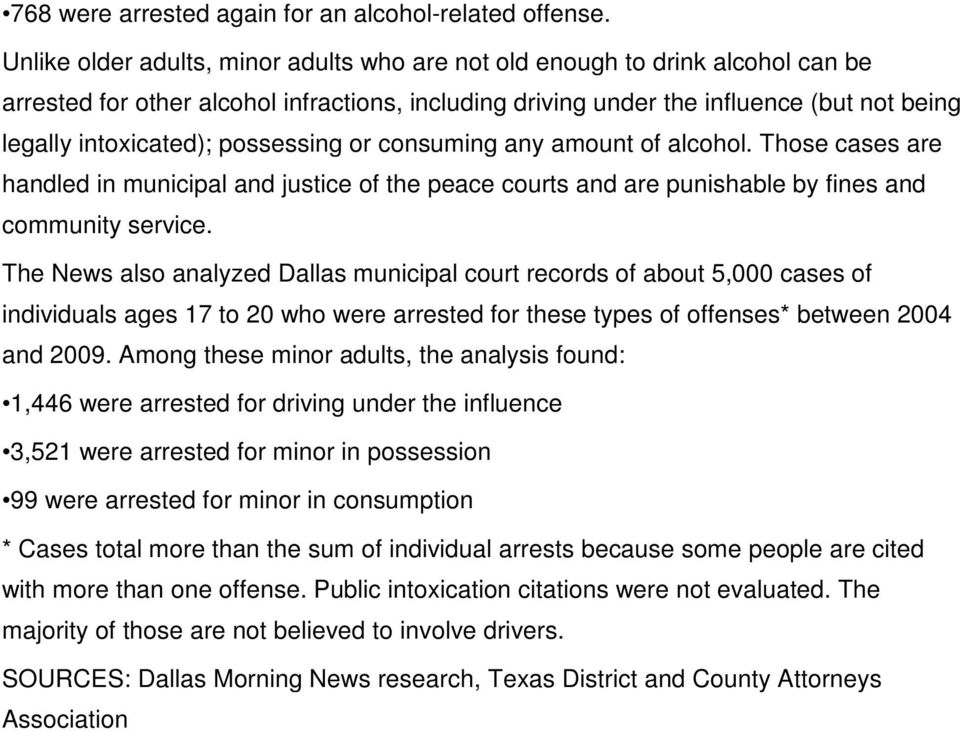 possessing or consuming any amount of alcohol. Those cases are handled in municipal and justice of the peace courts and are punishable by fines and community service.