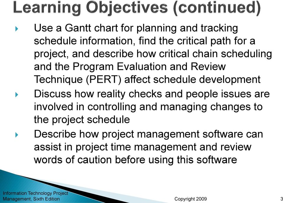reality checks and people issues are involved in controlling and managing changes to the project schedule Describe how