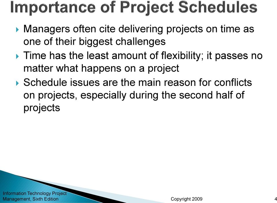 no matter what happens on a project Schedule issues are the main