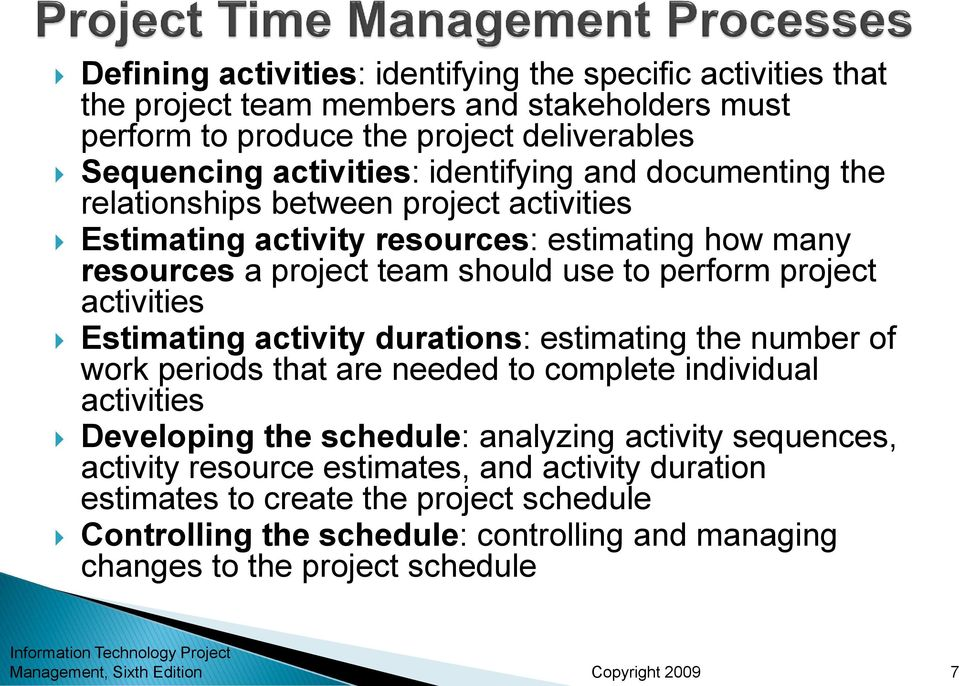 activities Estimating activity durations: estimating the number of work periods that are needed to complete individual activities Developing the schedule: analyzing activity