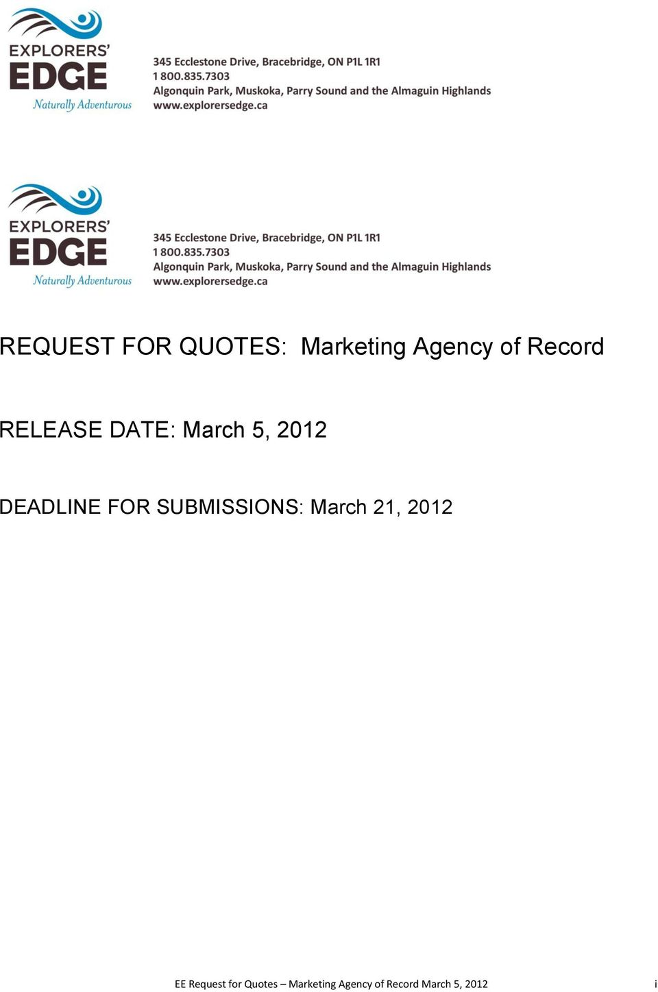 FOR SUBMISSIONS: March 21, 2012 EE Request