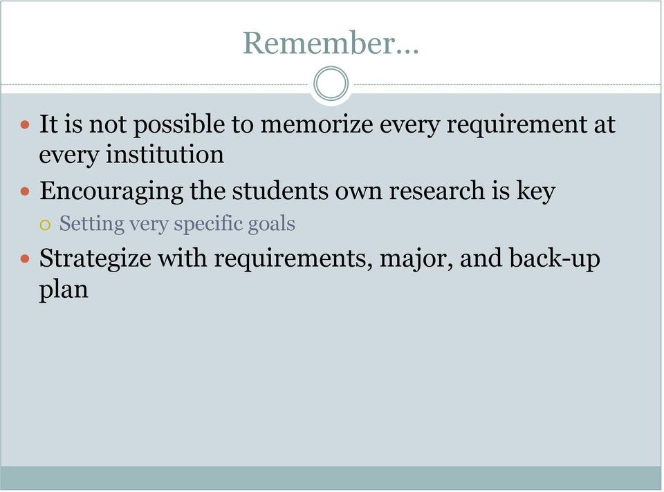 students own research is key Setting very specific