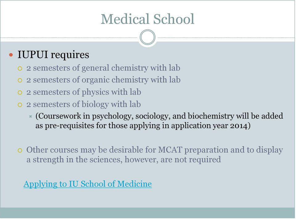 biochemistry will be added as pre-requisites for those applying in application year 2014) Other courses may be