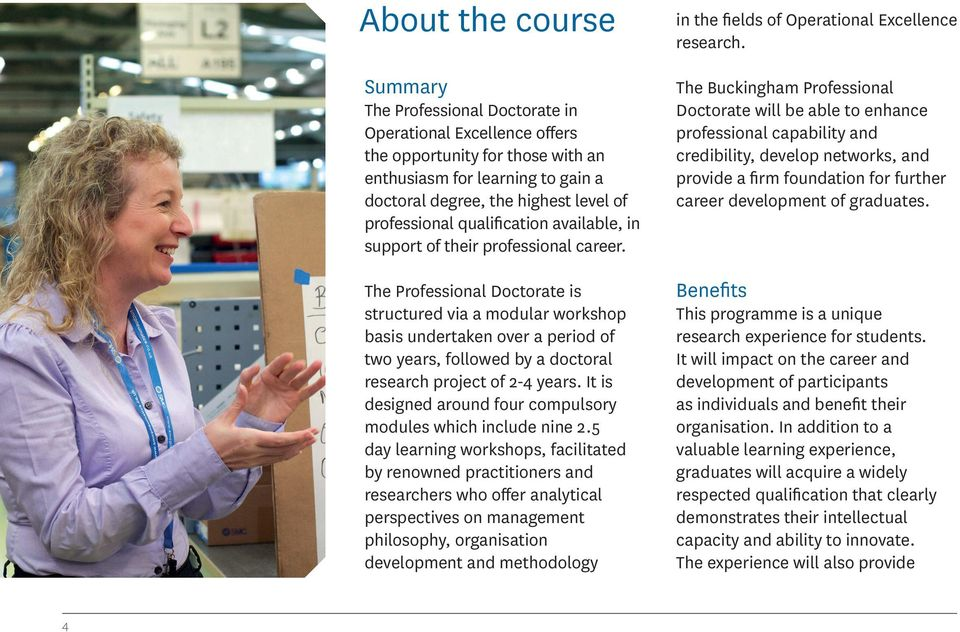 The Professional Doctorate is structured via a modular workshop basis undertaken over a period of two years, followed by a doctoral research project of 2-4 years.