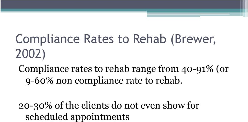 9-60% non compliance rate to rehab.